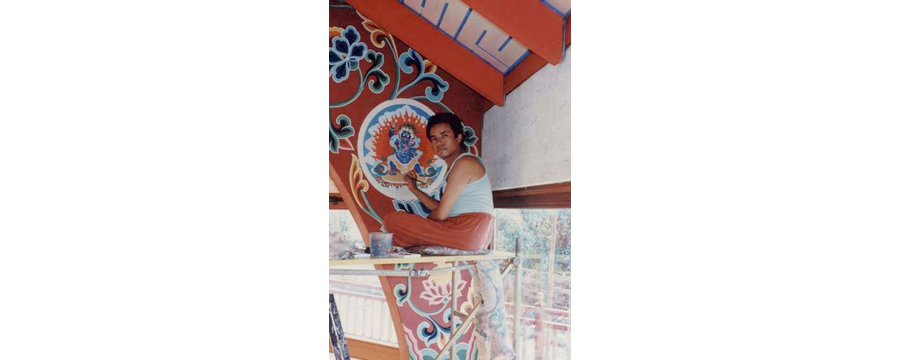Working at Gumba (Wall Painting), Merigar, Italy